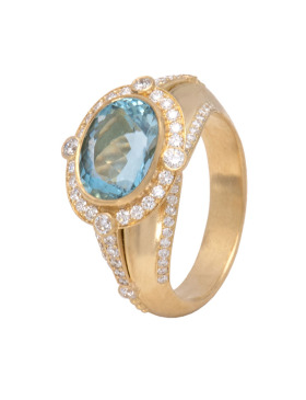 Aquamarine Elizabeth Ring