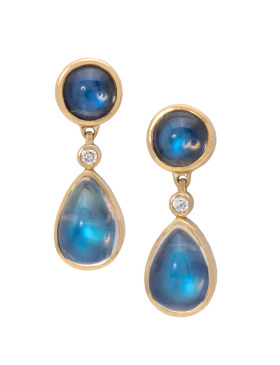 Indian Blue Flash Moonstone Earrings