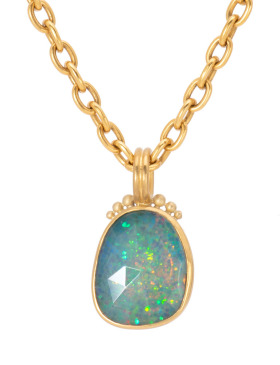 Rose Cut Hydrophane Opal Pendant