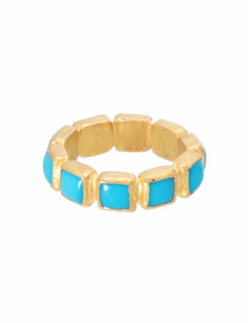 Turquoise and 24kt Gold Ring