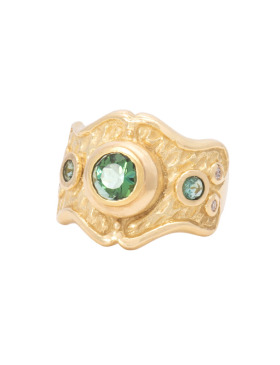 Green Tourmaline and Diamond Tarquinia Ring