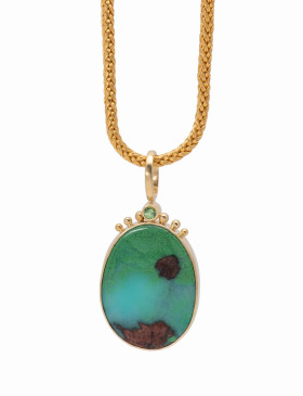 Conichalcite and Chrysocolla Crown Pendant