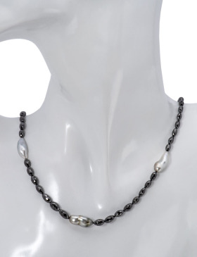Black Diamond and Keshi Pearl Necklace