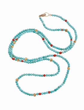 Turquoise, Coral, Gold Nugget Necklace