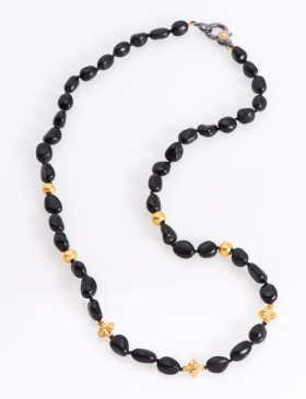 Black Tourmaline and Gold Star Necklace