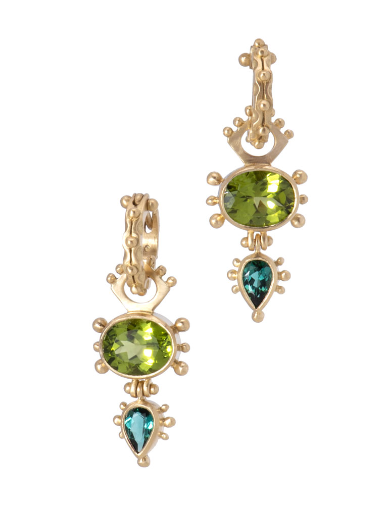Peridot and Tourmaline Geneva Drops