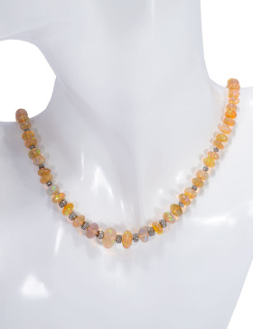 Ethiopian Opal and Rondelle Necklace