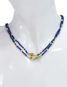 Double Strand Lapis and Turquoise Necklace