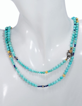 Turquoise and Micro Pave Diamond Necklace