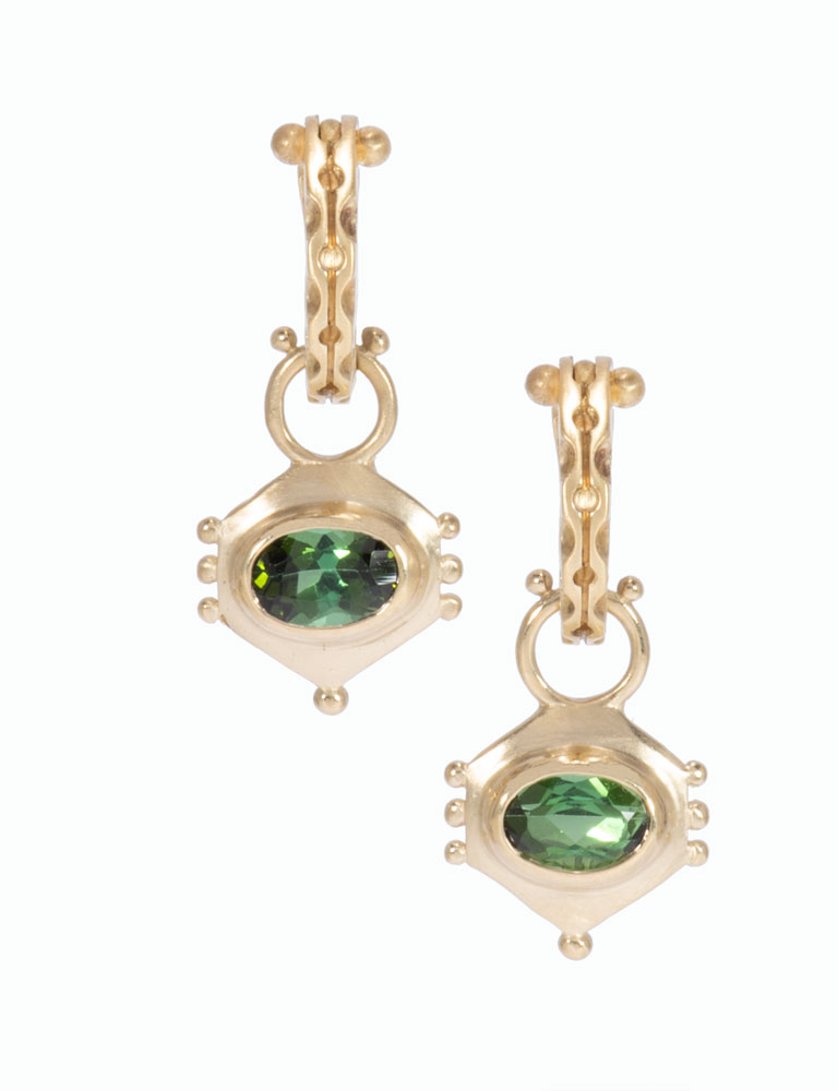 Green Tourmaline Hexi Drops