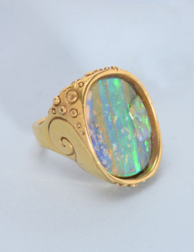 The Last Wave Boulder Opal Ring