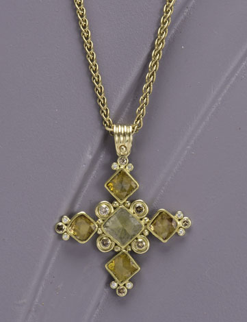 Rose Cut Diamond Byzantine Pendant