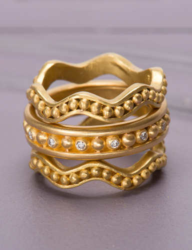Granulated 22kt Gold Bands