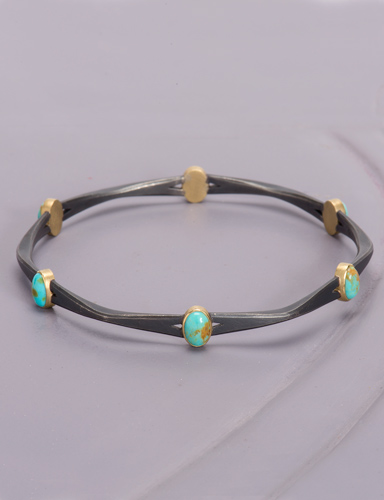 Turquoise Mixed Metal Bangle