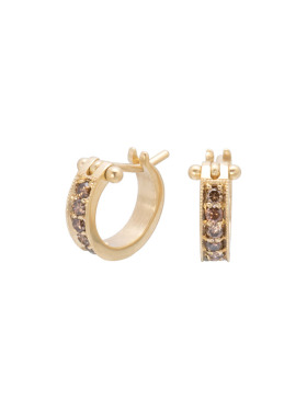 Small Brown Diamond Pave Hoops