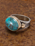 Mixed Metal Bisbee Turquoise Ring