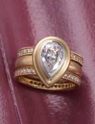 Kashmir Diamond Pear Ring Main View