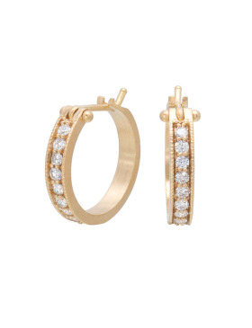 Large White Diamond Pave Hoops