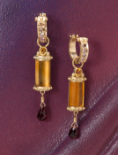 Citrine and Garnet Column Drops