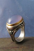 Sterling and Gold Chalcedony Ring