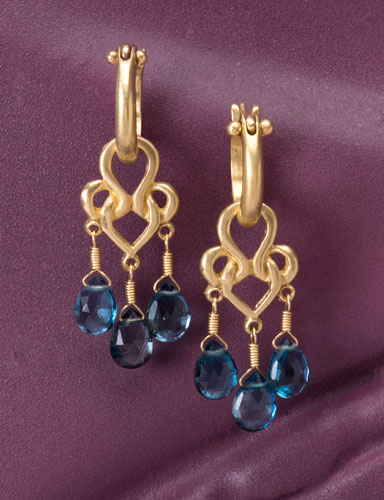 London Blue Topaz Woven Heart Drops