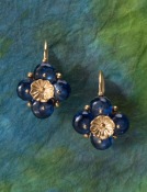 Kyanite Boton de Piedra Grande Earrings