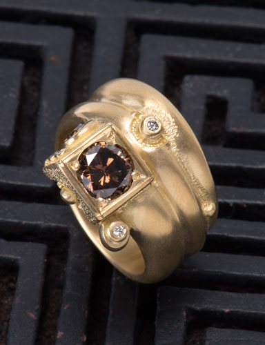 Cognac Diamond Divine Vine Ring