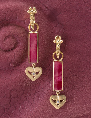 Rhodonite Column Drops with Hearts
