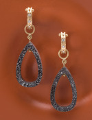 Black Druzy Open Pear-shaped Drops