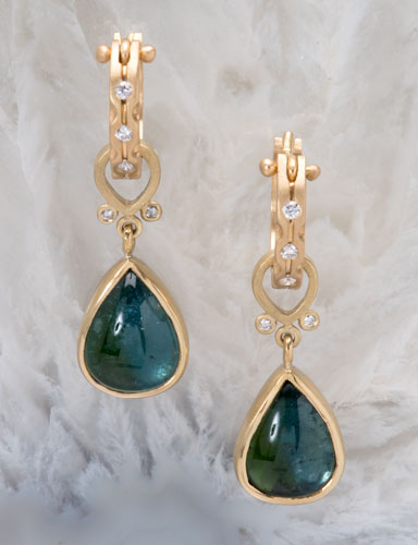 Blue Green Tourmaline Anjou Drops