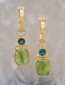 Indicolite Tourmaline and Peridot Drops