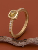 Rose Cut Yellow Diamond Be Mine Ring