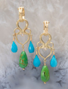 Blue and Green Turquoise Grande Woven Heart Drops