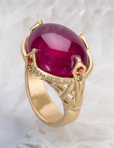 Rubellite Tourmaline Moorish Tapestry Ring