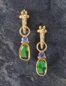 Tsavorite and Tanzanite Drops
