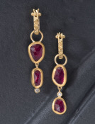 Dainty Two-tiered Ruby Drops