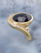 RoseCut Black Diamond Swoop Ring