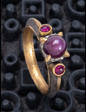 Pink Star Sapphire and Ruby Ring