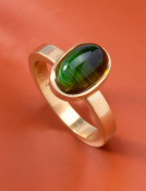 Green Tourmaline Cabochon Ring