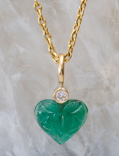 Carved Emerald Heart Pendant