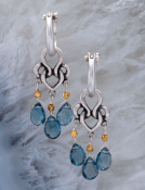 London Blue Silver Woven Heart Drops