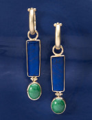 Lapis and Green Agate Moai Drops