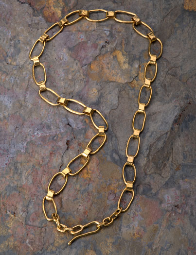 Oval Link Flat Band 22kt Gold Chain