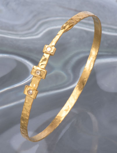 Narrow Hammered Diamond Bangle