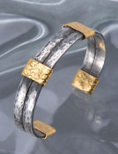 Oxidized Silver and 22kt Gold Double Band Cuff