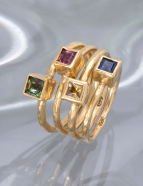 Four Piece 22kt Gold Stack
