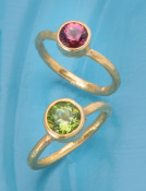 Rubellite Tourmaline and Peridot 22kt Gold Rings
