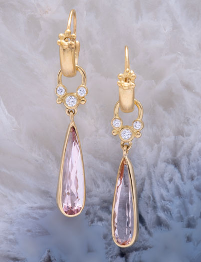 Majesta Morganite and Diamond Teardrops