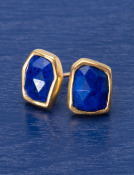 Rose Cut Lapis Studs