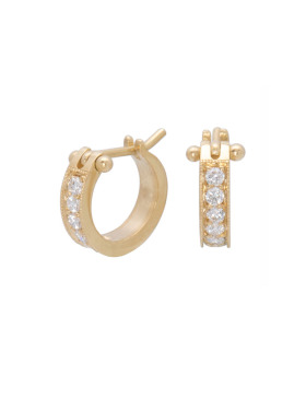 Small White Diamond Pave Hoops